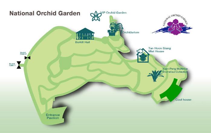 Карта-схема Ботанического сада в Сингапуре