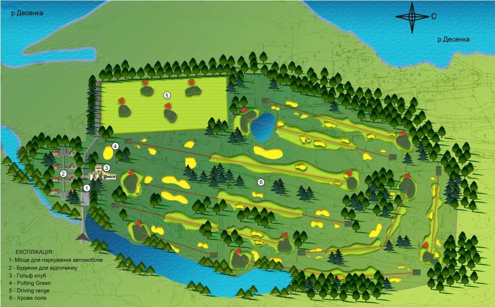 Схема генерального плана городского гольф клуба в г. Киев