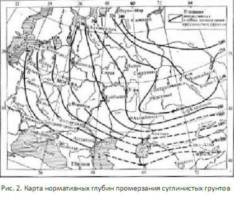 Карта нормативных глубин промерзания суглинистых грунтов