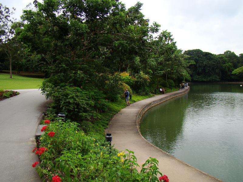Дорожка вдоль озера в ботаническом саду