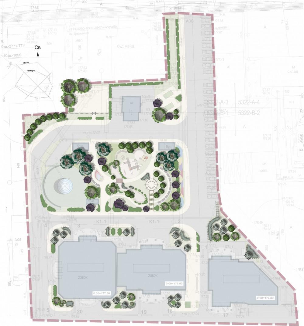 Концепция благоустройства и озеленения территории, прилегающей к жилому комплексу